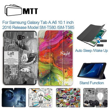 MTT Cartoon Graffiti Case For Samsung Galaxy Tab A A6 10.1 inch T580 T585 T580N PU Leather Flip Cover Tablet Protective Funda cowboy pattern case for samsung galaxy tab a a6 10 1 2016 t580 t585 sm t580 t580n case cover funda tablet stand protective shell