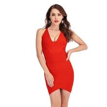 Модное вечернее Бандажное платье знаменитостей, сексуальное платье с v-образным вырезом, заводская цена, мини-платье-футляр в стиле ампир, платья красного, черного, белого цвета