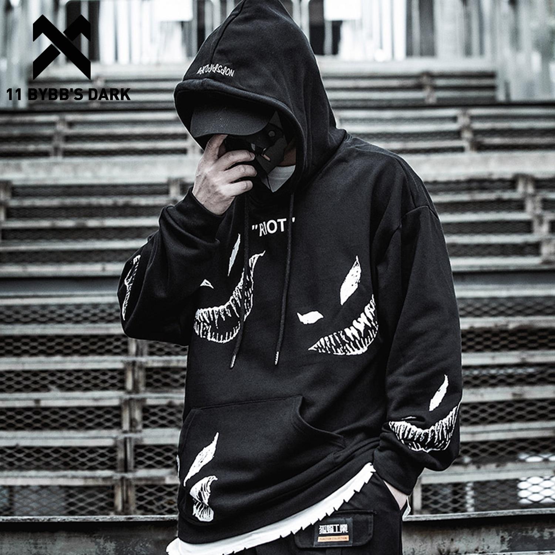 11 BYBB'S DARK Hip Hop Darkwear Mask Print Loose Hoodies Men Streetwear Techwear Pullover 2020 Hoodie Sweatshirt Tops Streetwear
