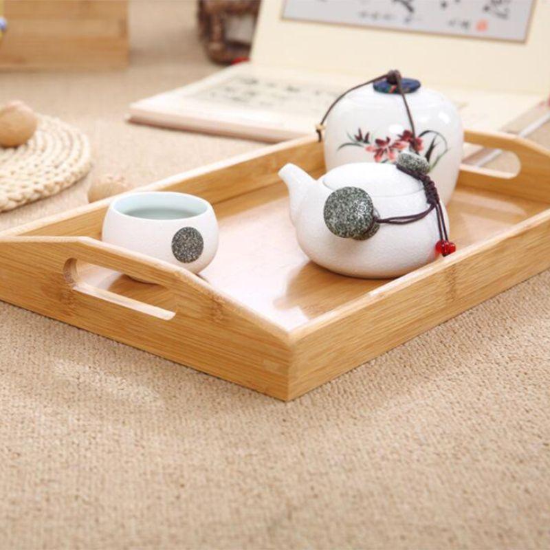 Сервировочный поднос из бамбука с ручками, поднос для чая, поднос для бара, поднос для завтрака, поднос для еды PXPC-3