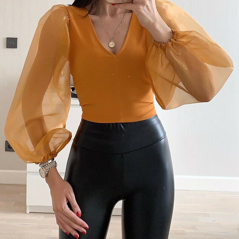 Fashion Women Splice V Neck Jumpsuit Solid Color Bodysuit Sheer Mesh Long Puff Sleeve Tops Loose Casual Slim Jumpsuit Clubwear