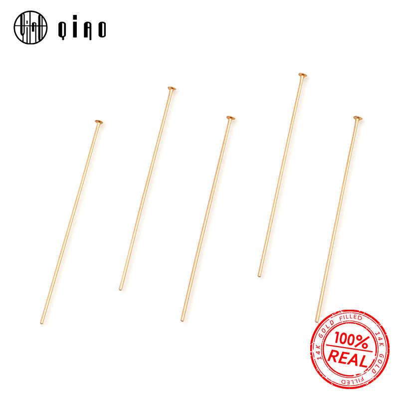 Bir çift 19.0mm 25.4mm 38.1mm 50.8mm 14K altın dolgulu düz kafa pimleri T şekli İğneler iğneler için Diy küpe takı bulguları yapmak