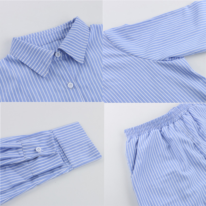 Sampic Loung Wear Tracksuit Women Shorts Set Stripe Long Sleeve Shirt Tops And Loose High Waisted Mini Shorts Two Piece Set 2021 6