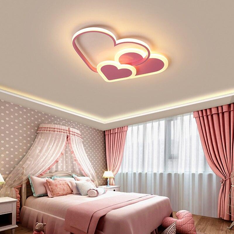 Romantic Heart Shape Ceiling Lights For Girls Room 110V Ceiling Light Princess Lamp Roof Light For Room Baby Room Girl Lamp