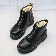 цены Top Quality New Fashion Zipper Flat Shoes Woman High Heel Platform PU Leather Boots Lace up Women Shoes Ankle Boots Girls 35-40