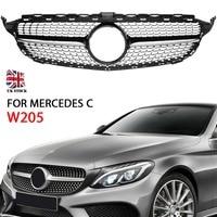 Black Front Grille Suitable for Mercedes C Class W205/C205/S205 Without Centre Logo