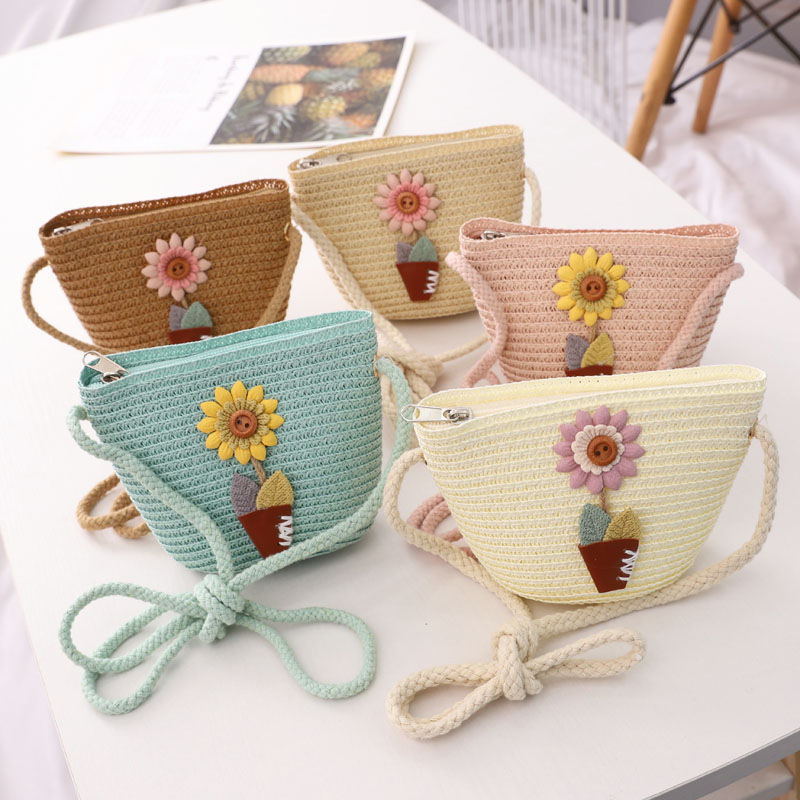 Cute Sunflower Fashion Summer Children Girls Shoulder Bag Straw Messenger Bag Kids Keys Coin Purse Cute Princess Mini Handbag