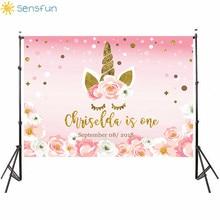 Buy Sensfun 7x5FT New Photographic Background Beautiful Girl Flower Pink Birthday Unicorn Backdrop Photocall Professional Customize directly from merchant!
