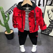 3 szt Chłopcy odzież dżinsowa zestawy na jesienna odzież wierzchnia dla dzieci koreańskie ubrania kurtka dżinsowa T-shirt spodnie garnitury zestawy ubrań dla niemowląt tanie tanio ALIJUTOU Na co dzień COTTON Stałe REGULAR Skręcić w dół kołnierz Kurtki płaszcze Pełna Pasuje prawda na wymiar weź swój normalny rozmiar