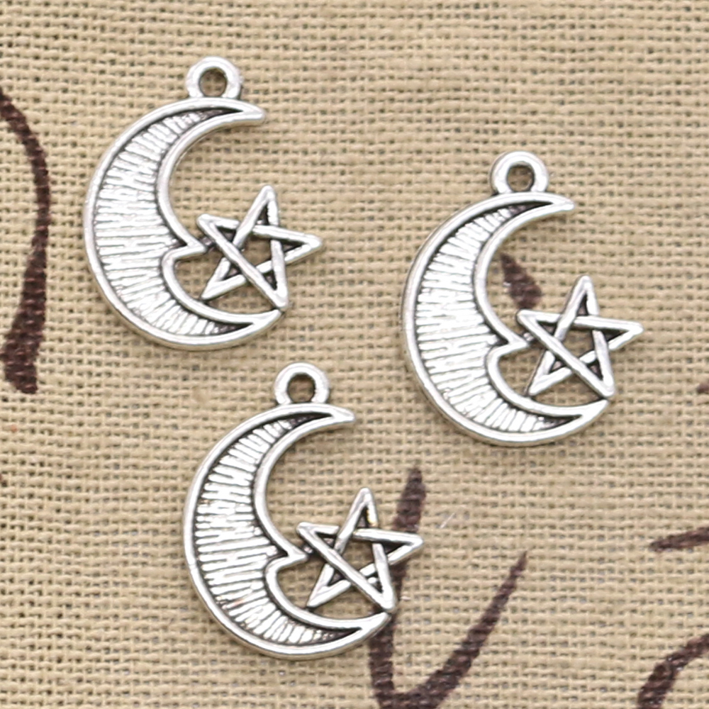 12pcs Charms Moon Star 20x16mm Antique Bronze Silver Color Plated Pendants Making DIY Handmade Tibetan Finding Jewelry