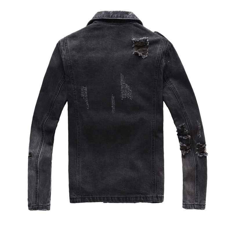 H988e3f15d6c54b3ea5b1d28f514dbb1dt Uplzcoo New Fashion Biker Denim Jackets Men Black Hole Zippers Denim Coat Jackets Casual Men Clothing Casaco Masculino EM157