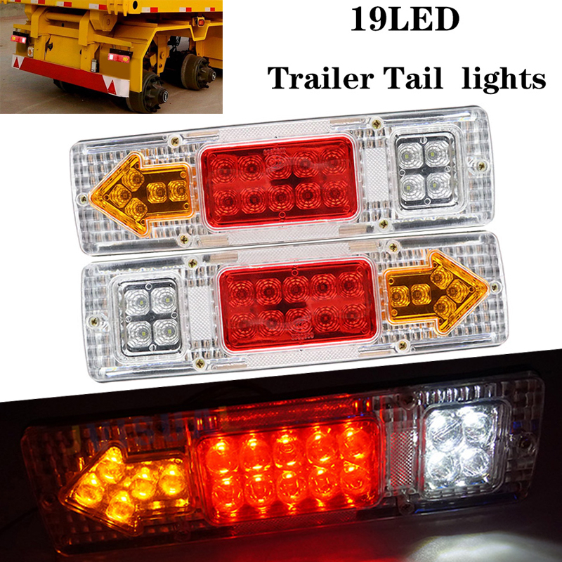 2pcs 24V 19 LED Car Truck Lorry Brake Stop Turn Rear Tail Light Trailer Lamp Indicator Lights Trailer Taillight White