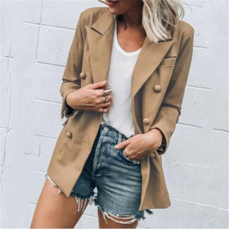 Female Blazers New Solid Color Single Button Long Sleeves Outwear Loose Casual Suit Coat Women Autumn Coat Fall Costume Hot Sale