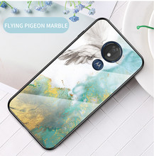 For Moto G8 G7 Power Case Marble Glass Case For Motorola G7 G8 Play Plus Phone Cover For Moto G7 Power One Zoom Macro Coque(China)