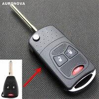 Auronova nova atualização dobrável escudo chave para chrysler aspen pt cruiser dodge calibre dakota jeep 2 + 1 botões remoto caso chave do carro|Chave de ativação|Automóveis e motos -