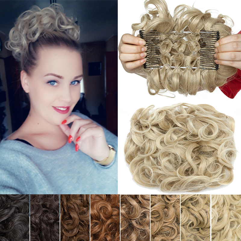 S-noilite Scrunchy Hair Bun Messy Curly Chignon Hair Combs Clip In Hair Extension Updo Cover Synthetic Fake Hair For Women
