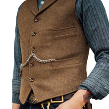 Vest Brown Jacket Waistcoat Gilet Men's Suit Slim-Fit Business Wedding Casual Tweed Groosmen