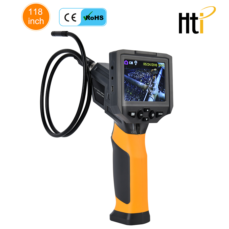 Hti-660 Portable Video Borescope/ Endoscope With 3.5 Inch Video Screen And 8.5 Mm Probe For Home Inspection Auto Maintenance