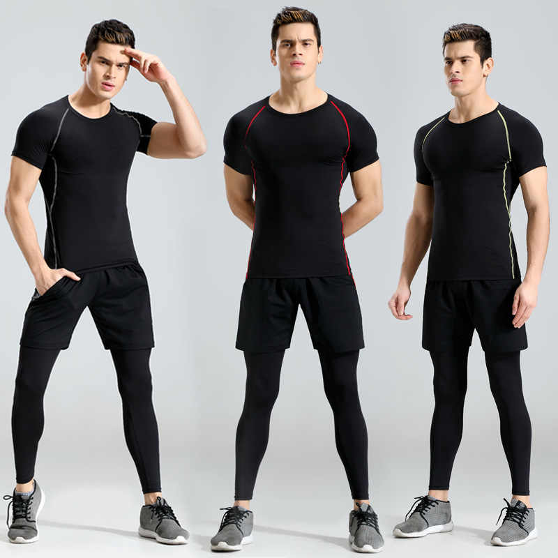 Mannen Compressie Sportkleding Suits Gym Panty Training Kleding Workout Jogging Sport Set Running Trainingspak Droge Fit Plus Size