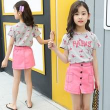 Teen Girls Shorts Outfits Set Flamingo Pattern Short Sleeve T-shirt Pink Skirt 2 Pieces
