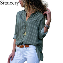 Sitaicery Blouse Women 2019 Striped Chiffon Blouse Long Sleeve Turn Down Collar Office Shirt Casual Loose Tops Blouses Plus Size plus size women blouse fashion long sleeve heart print blouses turn down collar lady office shirt elegant casual loose tops