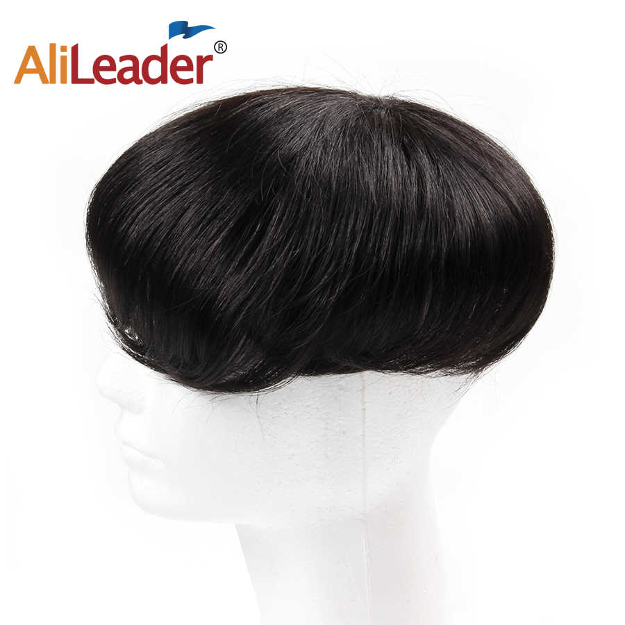 Alileader Cheap 200g/pack Men Hair Replacement With Clips 150% Density Natural Black Color Topper Human Hairpiece Wig