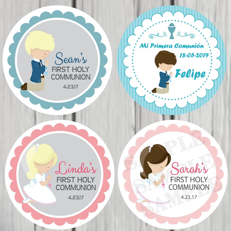 100 PCS, 3-7CM, Custom Personalized, Boy, Girl First Communion Stickers, First Holy Communion Favor Labels, Baptism