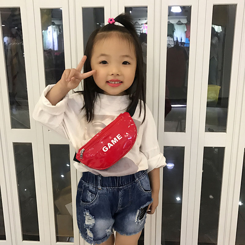 New Child Waist Bag For Kids Chest Bag Leather Mini Fanny Pack High Capacity Letter Bum Bag Kidney Banana Bags Crossbody Bags