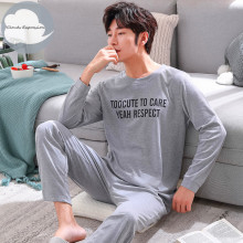 Autumn Winter Men's Cotton Pajamas Letter Striped Sleepwear Cartoon Pajama Sets