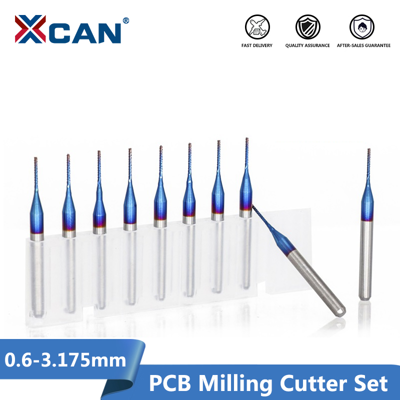 XCAN 10pcs 3.175 Shank  Blue Coated Carbide End Milling Cutter CNC Router Bits Engraving Edge Cutter Endmill 0.8-3.0mm