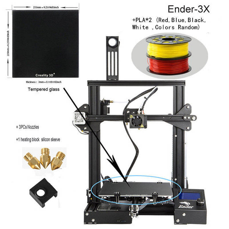 CREALITY <font><b>3D</b></font> <font><b>3D</b></font> <font><b>Printer</b></font> Ender-<font><b>3</b></font>/Ender-3PRO/Ender-3X gift nozzles + Heating block silicone sleeve+PLA image
