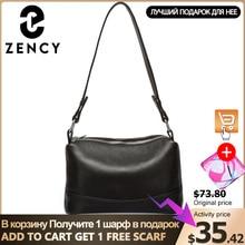 Zency 100% bolso de hombro de piel auténtica para mujer, bandolera cruzada con 3 cremalleras, color blanco y negro