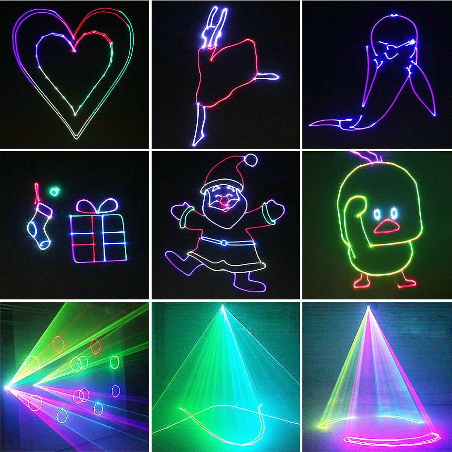 ALIEN RGB Bluetooth APP Remote Animation Laser Projector DMX512 Scanner DJ Disco Party Holiday 500MW 1W 2W Stage Lighting Effect 5