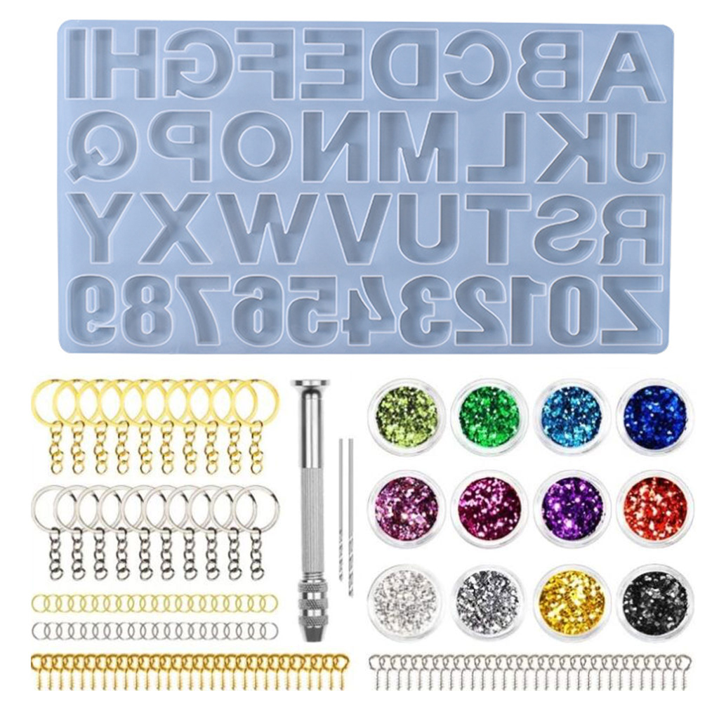 1 Set Crystal Epoxy Resin Mold Alphabet Letter Number Pendant Casting Silicone Mould DIY Crafts Jewelry Making Tools