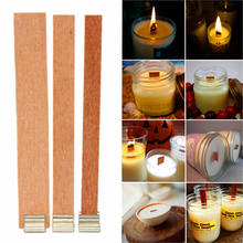 Hot 10Pcs Candle Wood Wick with Sustainer Tab Candle Making Supply 13 Sizes