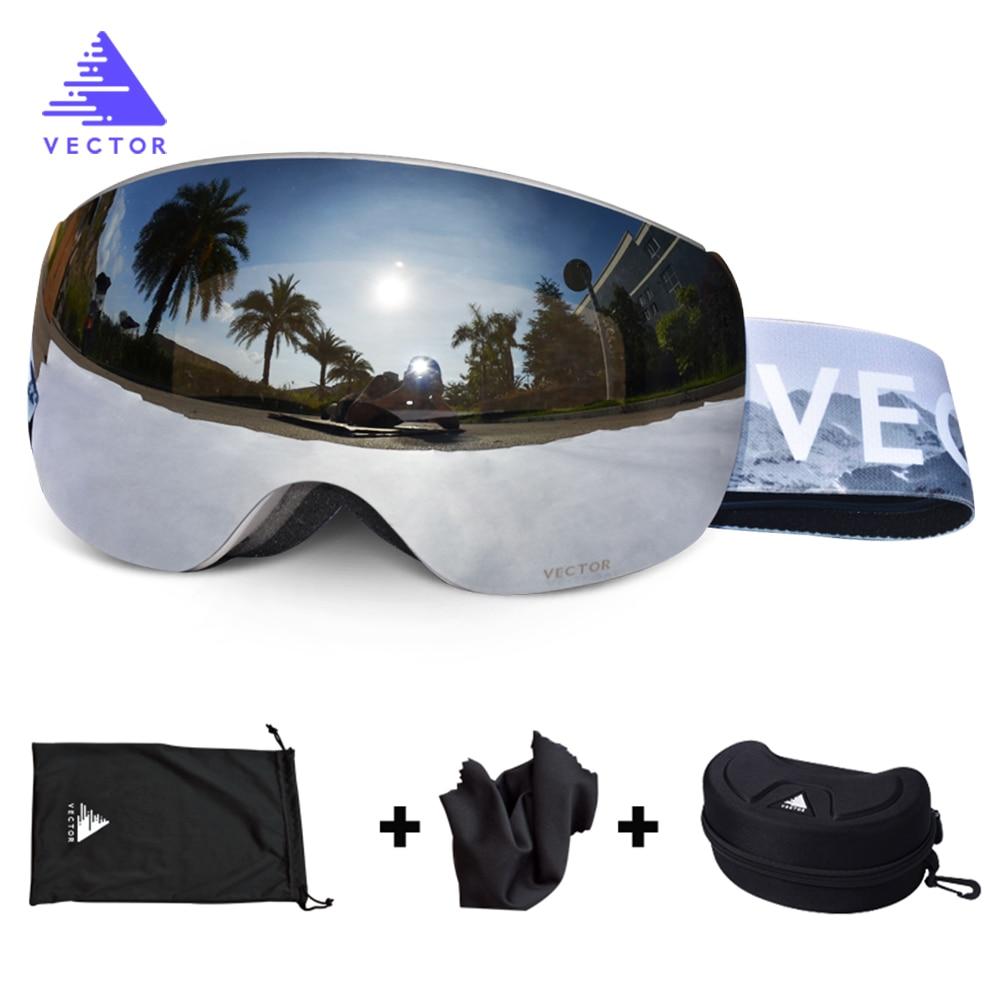 OTG Ski Snowboard Mirrored Magnetic Goggles Women Men Skiing Eyewear Mask UV 400 Snow Protection Glasses Adult Double Spherical