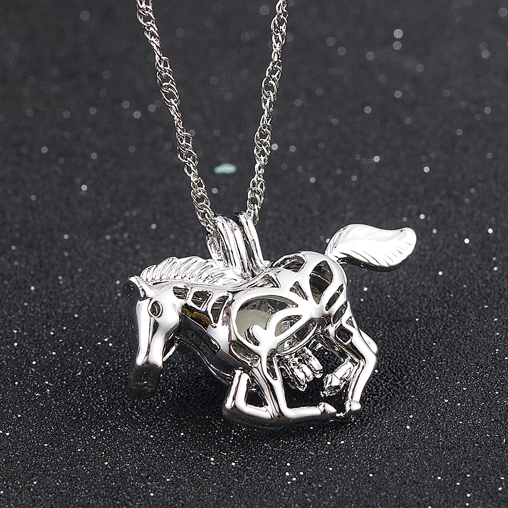 2019 New Fashion Women Horse Paw Print Hollow Luminous <font><b>Glow</b></font> <font><b>In</b></font> <font><b>The</b></font> <font><b>Dark</b></font> Pendant <font><b>Necklace</b></font> Jewelry Hot Halloween Christmas Gift image