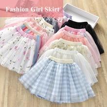 1-6Y Cute Mesh Baby Girl Skirt tutu Children Flower Dot Plaid Skirts Kids Pink faldas e girl aesthetic Soft Girl Skirt mini New