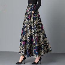 2021 nowa wiosna jesień kwiat haftowane wełniana spódnica kobiety eleganckie wysokiej talii spódnice na co dzień mama moda długa spódnica Y200 tanie tanio luyaoskyen COTTON Poliester CN (pochodzenie) Osób w wieku 18-35 lat A-LINE NONE empire Drukuj Kostek
