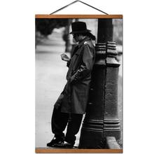 Póster Vintage Michael Jackson, Rollo colgante, pintura sobre lienzo con decoración de madera sólida
