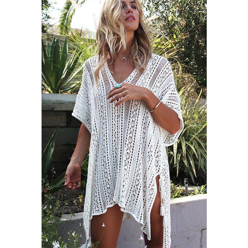 New Knitted Beach Cover Up Women Bikini Swimsuit Cover Up Hollow Out Beach Dress Tassel Tunics Bathing Suits Cover-Ups Beachwear 28