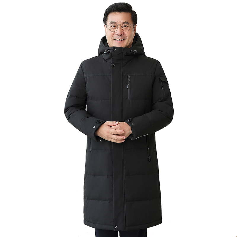 -30 Degree Middle-aged Men Winter Down Coat For Father Plus Size 4XL Long White Duck Down Jacket Men Hooded Loose Down Parka Men