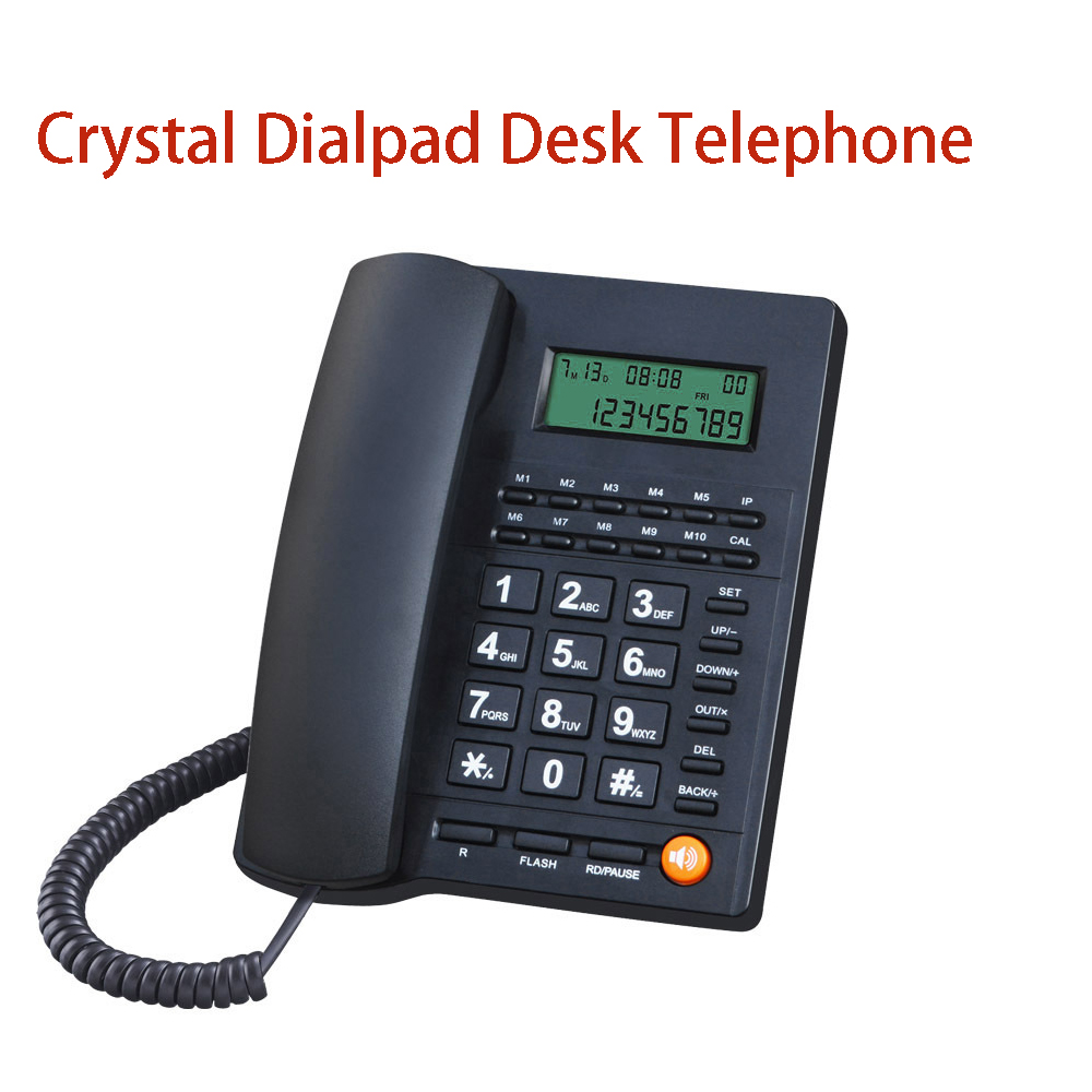L019 Big Button Telephone for Eldly Crystal Dialpad Landline Trade Call Desk Display Caller ID Telephone for Home Office Hotel