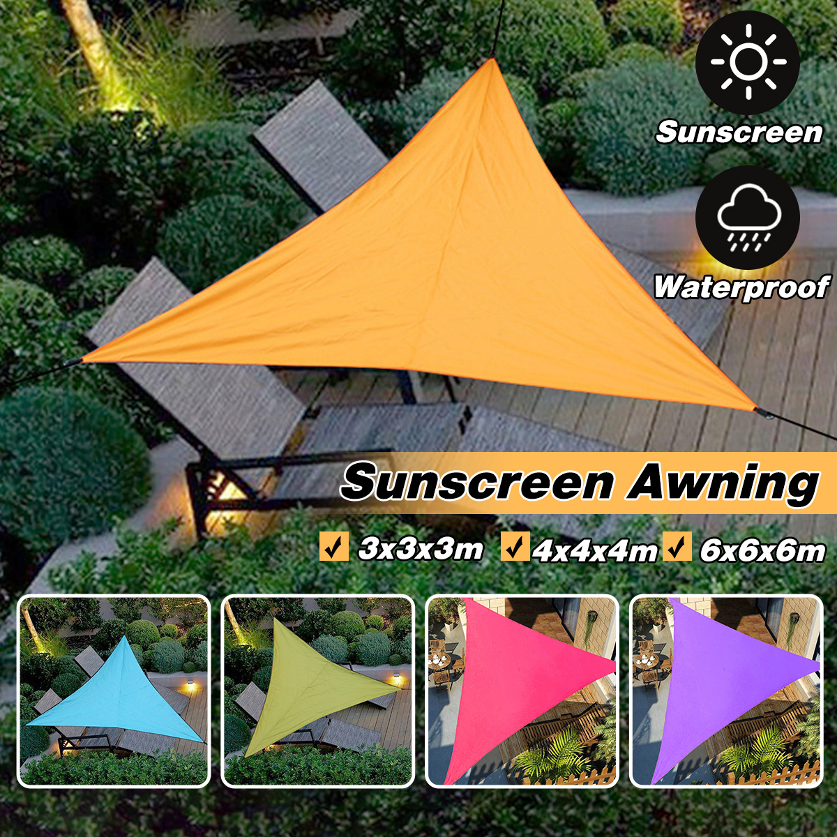 Heavy Shade Sail Sun Canopy Cover 3/4/6m <font><b>Outdoor</b></font> trilateral Garden Yard Awnings Waterproof <font><b>Car</b></font> Sunshade Cloth Summer image