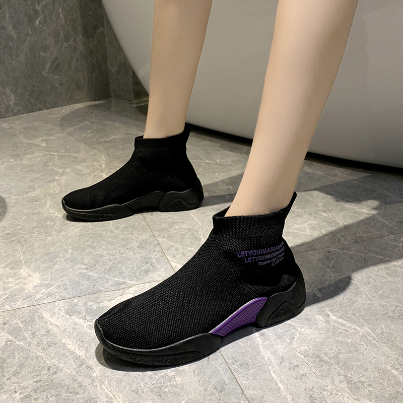 Socks shoes women summer new wild casual breathable elastic high-top sneakers socks boots 2019 autumn women shoes 28