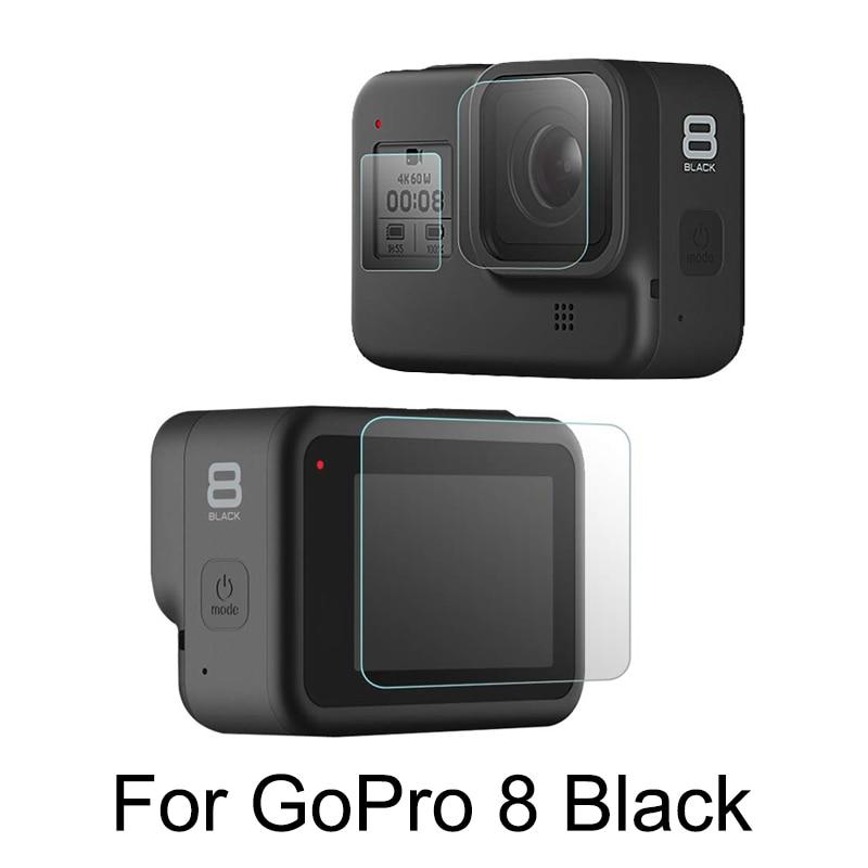 Закаленное стекло объектива + ЖК-экран протектор для GoPro Hero 8 черная Экшн-камера экран Защитная пленка для Go Pro 8 аксессуар
