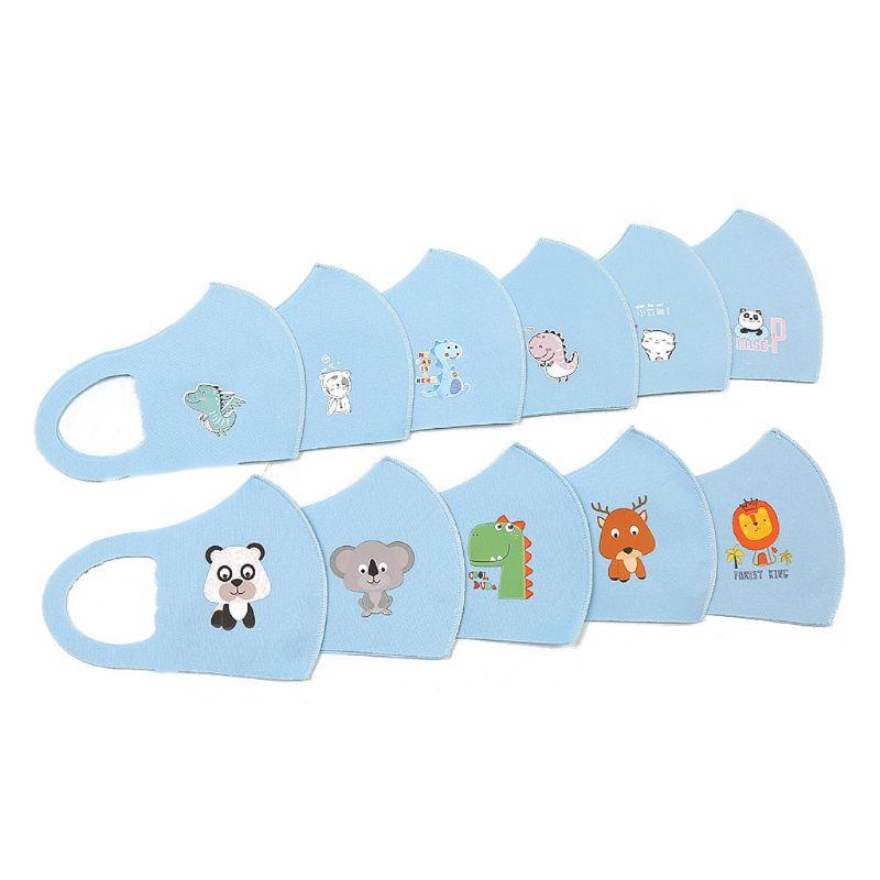 10Pcs PM2.5 Kid Reusable Sponge Dustproor Anti Flu Face Mask Breathable  Mouth Mask Random Pattern for Children 3