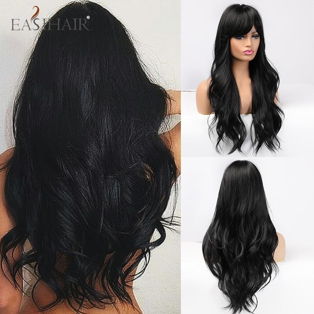 EASIHAIR, длинные черные парики, косплей, волнистые синтетические парики с полной челкой для белых/черных женщин, бразильские, американские, нат...