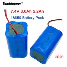 Doublepow 7.4V 18650 bateria litowa 3600mAh/5200mAh ładowalny akumulator megafon głośnik płyta ochronna + XH 2P wtyczka