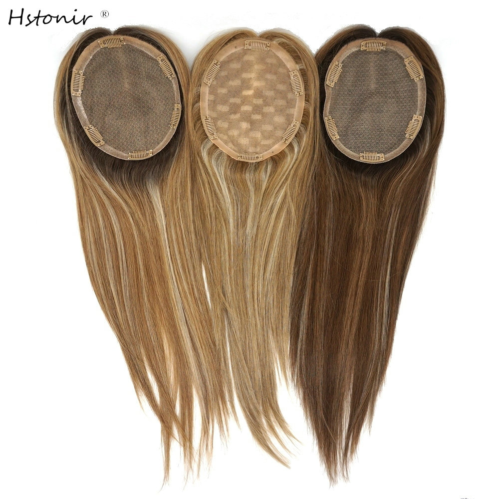 Hstonir Natural Human Hair Toppers Kosher Jewish Toupee Hair For Women Jewish Wig Fall European Remy Hair Toper TP30